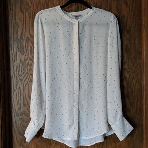 H&M Long Sleeve White with Black Hearts Blouse